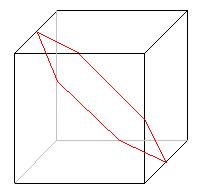 The red lines show an example slice of a cube - this one hexagonal
